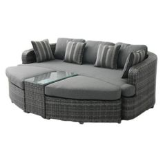 Belham Living Wingate All Weather Wicker Sofa Daybed Sectional Set | Hayneedle
