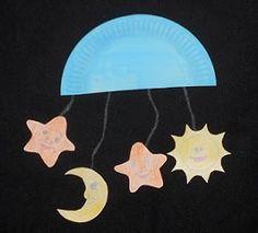 God of the moon and stars. Knutselen schepping, zon maan en sterren.