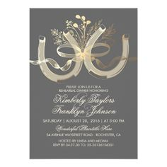 Rustic Country Horseshoes Gold Rehearsal Dinner Card