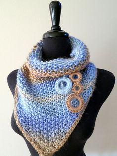 RESERVED for Barbara: Sweet Mustard Organic Cotton Cowl Kerchief Mini Shawl Collar Necklet   with Crocheted Rings