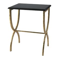 Marble and Iron Table by Cyan Design -- Iron and marble console table. Antique and black side legs, top is black marble. Very unique design. Dimensions: x x