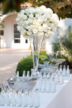 Beautiful, tall, white centerpiece