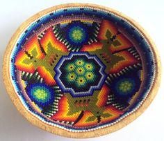 Mexican Huichol Beaded Peyote and Deer Sacred Gourd by Aramara