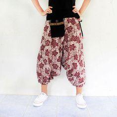 maroon flowers harem pants handmade Thai batik by meatballtheory