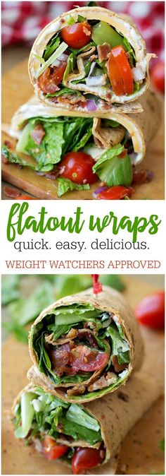 Wraps Flatout Wraps - simple, delicious and perfect for lunch or dinner and is Weight Watchers approved!Flatout Wraps - simple, delicious and perfect for lunch or dinner and is Weight Watchers approved! Healthy Meals For Kids, Healthy Foods To Eat, Healthy Eating, Healthy Recipes, Healthy Wraps, Healthy Weight, Wrap Recipes, Lunch Recipes, Sandwich Recipes