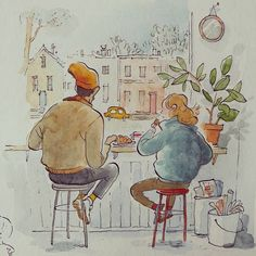 Chilling out at a coffee shop Watercolor Art Face, Watercolor Paintings For Beginners, Illustration Sketches, Watercolor Illustration, Art Graphique, Cute Drawings, Cute Art, Art Inspo, Art Projects