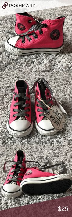 Converse little kids Brand New little kids Converse size 5 toddler still with tags on  slip on collection in hot pink and black Converse Shoes Sneakers