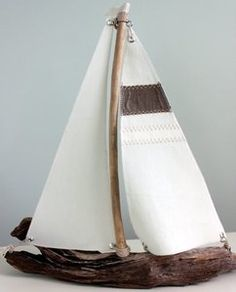 "Totally darling - 13"" driftwood sailboat individually handcrafted beside the Chesapeake Bay with gathered driftwood and retired (recycled) sails."
