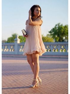 Fantastic summer / Spring Nude or White Color O-neck beaded Ruffle Causal apricot Short Sleeve Lace Chiffon Short pleated gown on Etsy, €37,66