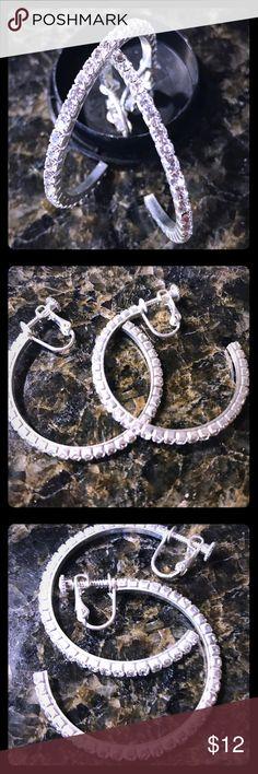 Stylish. Rhinestone Hoop Earrings.  Clip ons 1.5 silver rhinestones hoops for non pierced eats. Screwbacks let you adjust the tensions Jewelry Earrings