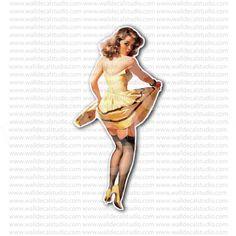 Pin Up Girl Bobbing Apple Retro Art Sticker