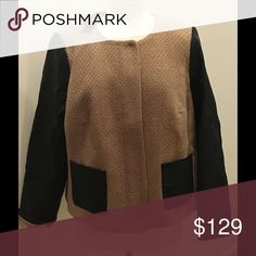 💧NWT Talbots Blazer🎉🎉Host Pick🎉🎉 Talbots Blazer, Chic  cropped mandarin collar jacket with hidden zipper placard. Slightly tapered through the middle with bust-line darts. Textured wood blend body with faux leather sleeves and matching front flap pockets. Fully lined.  NWT!!  Size: 16WP Talbots Jackets & Coats Blazers