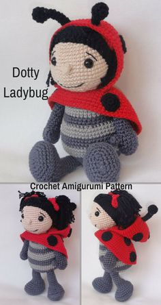 Dotty Ladybug is a sweet crocheted amigurumi doll that would love to fly around your house and garden. You can create your own Dotty Ladybug with this downloadable pattern. #crochet #amigurumi #crochetdoll #ad #amigurumidoll #amigurumipattern #ladybug #instantdownload