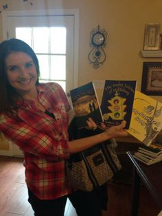 Karey Barnes with the author's books.