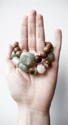 Mala bead bracelet set of two with new jade serpentine, natural wood, sterling silver and bohdi, Pillow Book Jewelry, perfect yoga style Yoga Bracelet, Jade Bracelet, Beaded Bracelets, Book Jewelry, Bff Gifts, Yoga Fashion, Unique Jewelry, Lotus, Couple