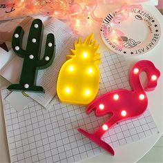 Free Shipping, 3D Marquee Flamingo Pineapple Cactus Lamps for Children Decor