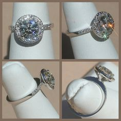 Diamond Engagement Ring with Diamond Halo in by LaurieSarahDesigns, $7470.50