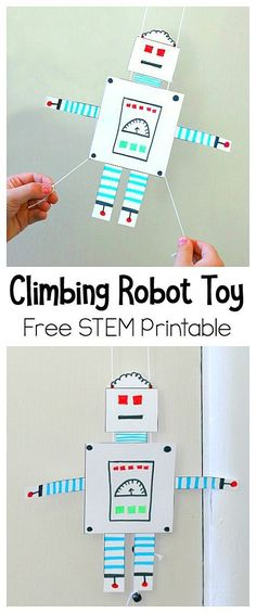 Free Printable Climbing Robot (hands-on science) - Fun STEM / STEAM activity for kids and great for a rainy day! ~ BuggyandBuddy.com