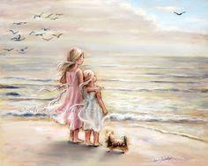 beach  painting Girls decor sisters kids art sea