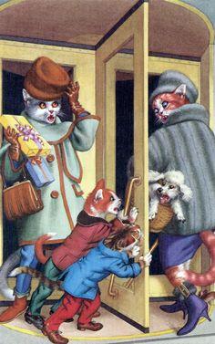 mainzer cats  revolving door antics  dressed cat postcards