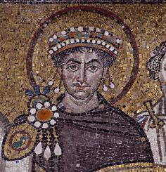 Giustiniano, dettaglio, Basilica di San Vitale, 547, Ravenna