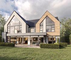 Tony Holt Design_Hunting Lodge_Self Build_New Build_Rear. House Plans Uk, Self Build Houses, House Siding, Dream House Exterior, House Extensions, Home And Deco, Modern House Design, Home Fashion, Exterior Design