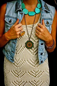 Denim vest braid updo crochet dress cowboy boots wayfarers
