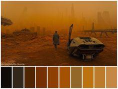 Movie Color Palette, Color Schemes Colour Palettes, Palette Art, Cinema Colours, Color In Film, Palette Projects, Roger Deakins, Denis Villeneuve, Blade Runner 2049