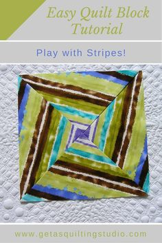 Stripes for easy quilt block. via @getagrama-- want to make two pillows to complement the quilt, I am happy that I made their center! I need bigger blocks so that I will add some strips to them.