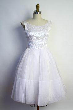 Vintage 50s Wedding Dress - Mad Men White Sequin White Party Dress