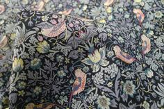 Strawberry Thief Grey - Liberty Of London - Tessuti Fabrics - Online Fabric Store - Cotton, Linen, Silk, Bridal & more