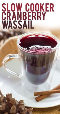 This slow cooker cranberry wassail is a mulled wine drink that is the perfect thing to serve at the holidays. Double or triple it for a crowd!