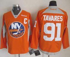 "$34.88 at ""MaryJersey"" (maryjerseyelway@gmail.com) Islanders 91 John Tavares Orange Practice Stitched NHL Jersey"