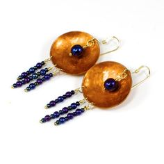 Hand Hammered Copper Earrings, 14K Gold Filled Wires, Czech Glass Beads #SolanaKaiDesigns