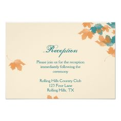 Fall Wedding Reception Cards Orange Aqua Autumn Maple Leaf Wedding Reception Card
