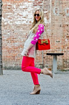 Pink & Red + LOVE those shoes!