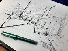 Lobby sketch Sketch Design, Sketching, Interior, Perspective, Architecture, Kitchen, Sketch, Arquitetura, Cooking