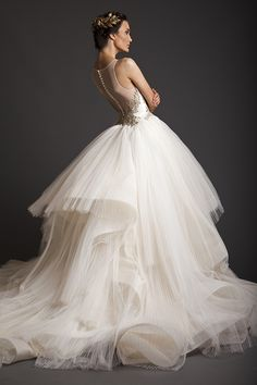 Button-down illusion back, embroidered bodice, and pleated tulle skirt