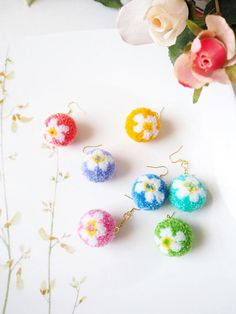 Flower Pom Pom Earrings PomPom Earrings Drop Earrings