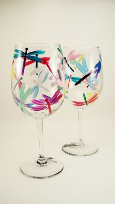 Multicolor dragonfly hand painted wine glasses - set of 2 Made to Order on Etsy, $38.00