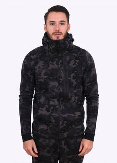 Nike Tech Fleece Camo Hoody - Medium Ash