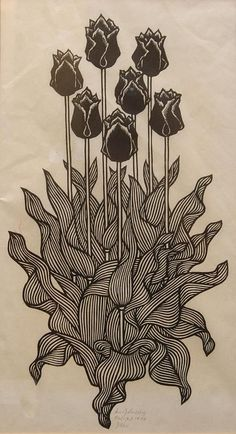 Jacques Hnizdovsky (1915-1985), 'Tulips', 1972, woodcut