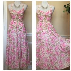 Free People halter, floral,  maxi dress, size 6 Gorgeous dress features a beautiful floral print, and a working drawstring at the waist. The skirt is triple layered with a cotton liner, a netting layer follows by the printed top layer. The back is smocked for a nice fit. Free People Dresses Maxi