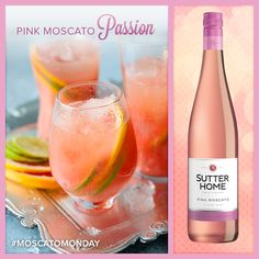 Sutter Home Wine Cocktail – Pink Moscato Passion Party Drinks, Wine Drinks, Cocktail Drinks, Alcoholic Drinks, Cocktails With Wine, Champagne Drinks, Cold Drinks, Pink Moscato, Moscato Wine