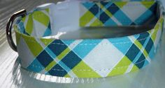 Blue and Green Plaid Dog Collar Made to Order  by katiesk9kollars, $15.00