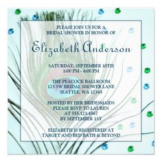 Glam Peacock Feather Teal Bridal Shower Personalized Invitations.  The blue and green peacock bird feather invite look amazing.
