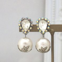 Classy 12 mm Cotton Pearl Earrings with Crystals by MiyabiGrace ☺  ☺