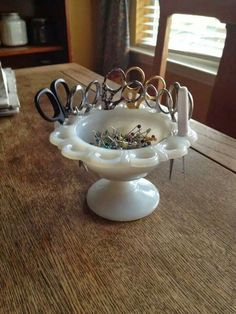 Reticulated milk glass pedestal bowl used in the sewing room to hold pins, scissors, etc. Great idea!
