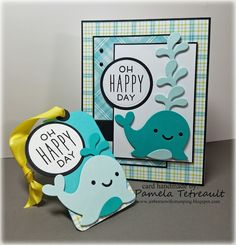 """airbornewife's stamping spot: TupeloDesignsLLC DT Project """"NARWHAL AND FRIENDS~ OH HAPPY DAY"""" card using Lawn Fawn *Measurements included"""