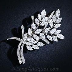 Diamond and Platinum Foliate Brooch c.1950s